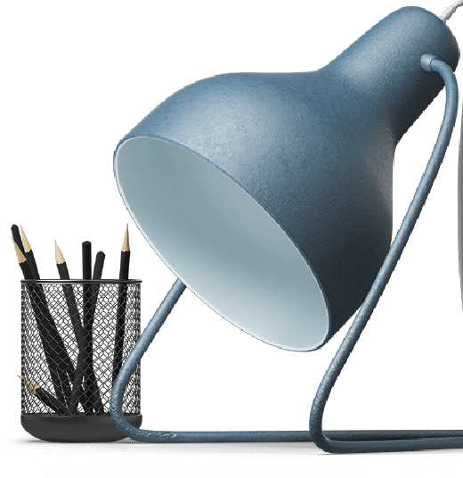 Desk lamp and pencil holder image