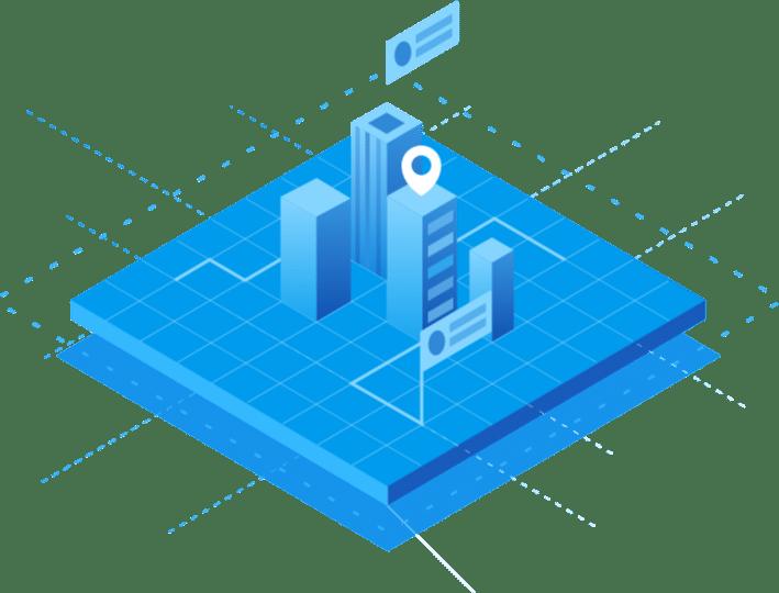 Cartoon blue city image