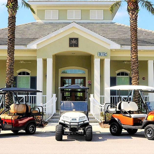 Image of three golf carts