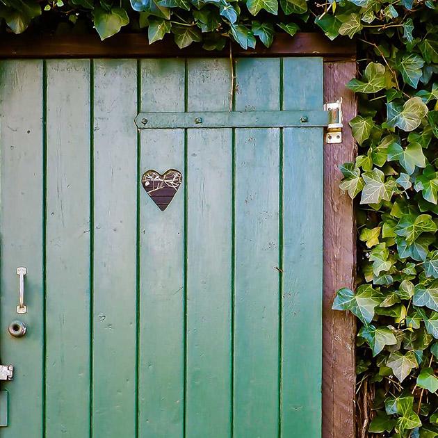 Image of a green door