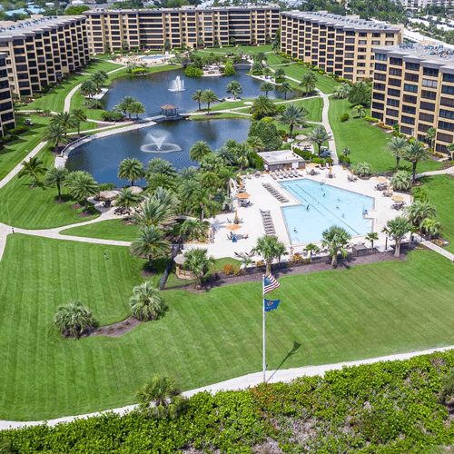 Aerial photo of a commons area between large condos